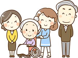 訪問福祉理美容 美々ネット埼玉 多世代家族イラスト